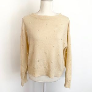 H&M pearl embellished boatneck sweater small